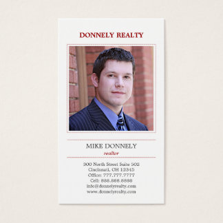 Dashed Border (Red) Photo Business Card