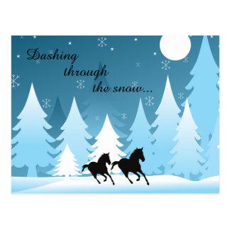 Dashing Through the Snow ~ Horse Holiday Christmas Postcard