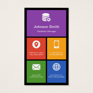 Database Manager - Colorful Tiles Creative Business Card