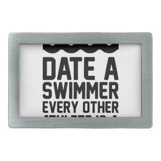 Date a Swimmer Rectangular Belt Buckle