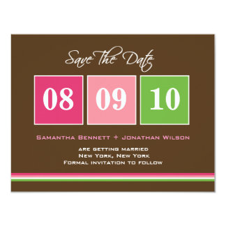 Date Blocks Save The Date Card - Fuchsia Green 11 Cm X 14 Cm Invitation Card