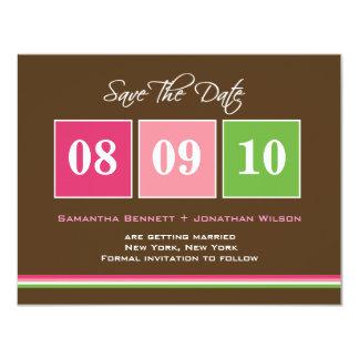 Date Blocks Save The Date Card - Fuchsia Green 11 Cm X 14 Cm Invitation Card