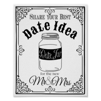 date jar wedding sign wedding or party sign