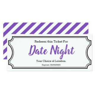 Date Night Gift Ticket Editable Text Purple Card