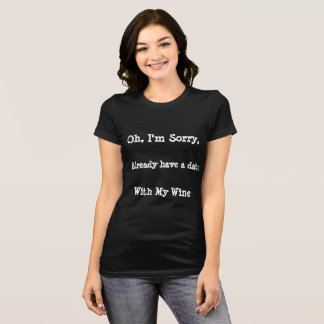 Date with Wine Black T-Shirt