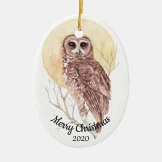 Dated Christmas Custom Watercolor Moon Owl Bird Ceramic Ornament