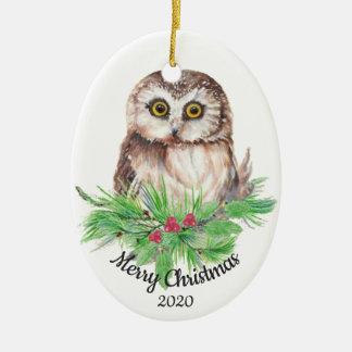 Dated Christmas Custom Watercolor Owl Bird Ceramic Ornament