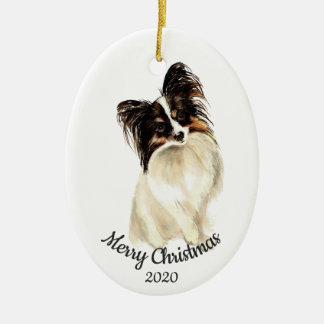 Dated Christmas Custom Watercolor Papillon Dog Ceramic Ornament