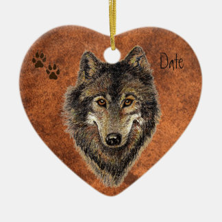 Dated Custom, Wolf, Wolves & Tracks Animal Ceramic Ornament