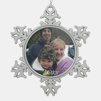 Dated Family Christmas Photo Photograph Picture Snowflake Pewter Christmas Ornament