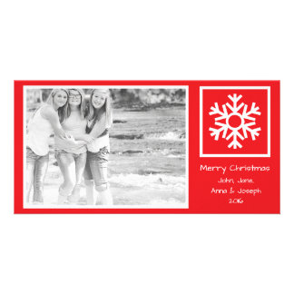 Dated Lone Snowflake Christmas Photo Card (Red)