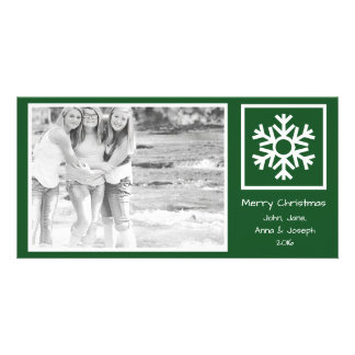 Dated Lone Snowflake Christmas Picture (Evergreen) Customized Photo Card