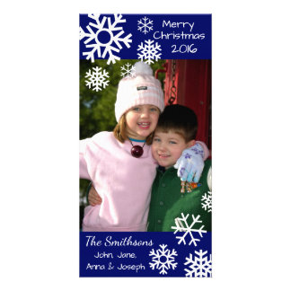 Dated Multiple Snowflakes Christmas Navy Blue Photo Card Template