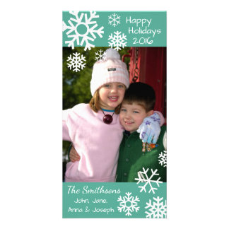 Dated Multiple Snowflakes Christmas (Teal) Custom Photo Card