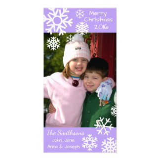 Dated Multiple Snowflakes Christmas (Violet) Photo Cards