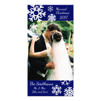 Dated Multiple Snowflakes Married Christmas (Blue) Card
