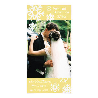 Dated Multiple Snowflakes Married Christmas (Gold) Personalised Photo Card
