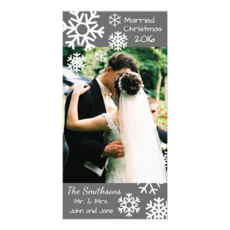 Dated Multiple Snowflakes Married Christmas (Gray) Photo Cards
