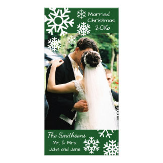 Dated Multiple Snowflakes Married Christmas (Green Personalised Photo Card
