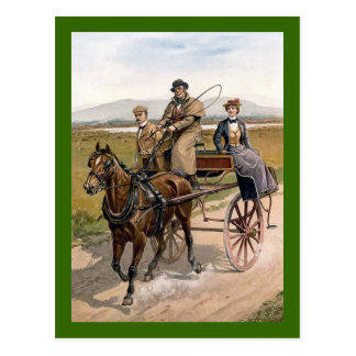 Dating Couple in Jaunting Cart Postcard