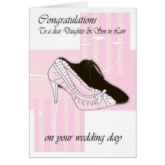 Daugher & Son in Law Wedding day cream congratulat Greeting Card