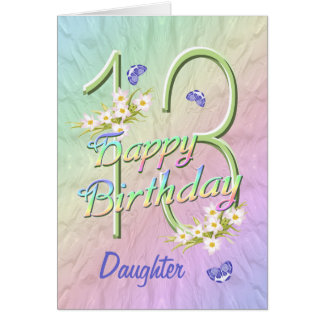 Daughter 13th Birthday Butterfly Garden Card