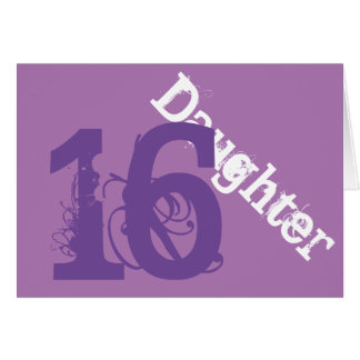 Daughter, 16th birthday, white, purple on purple. card