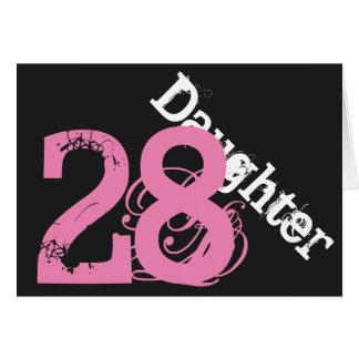 Daughter, 28th birthday, white, pink on black. card