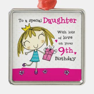 Daughter 9th Birthday cute pink princess age 9 Silver-Colored Square Decoration