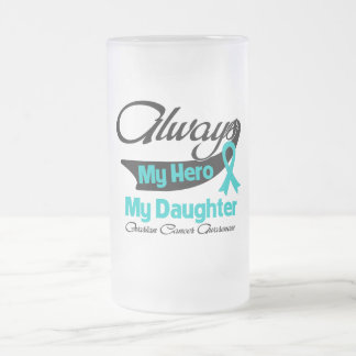 Daughter - Always My Hero - Ovarian Cancer Frosted Glass Mug