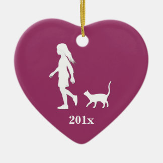 Daughter and Cat: Little Girl and her Kitty Ceramic Heart Decoration