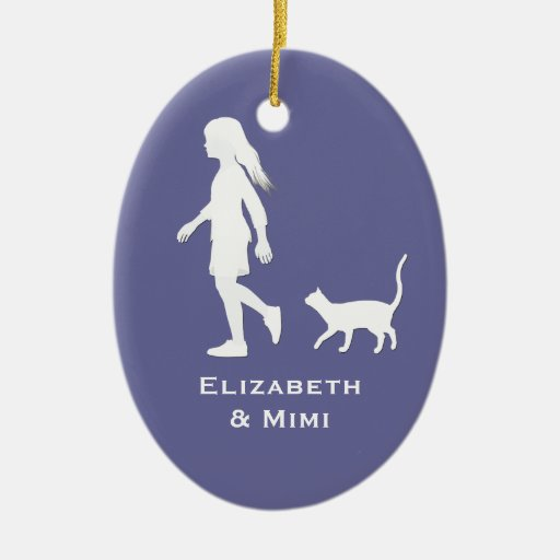 Daughter and Cat: Little Girl and her Kitty Christmas Tree Ornament