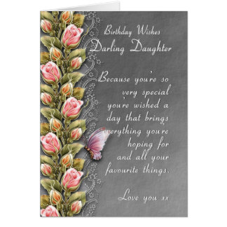 daughter birthday card - birthday card with roses