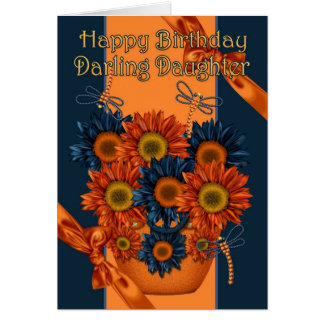 Daughter Birthday Card - Sunflower And Dragonfly