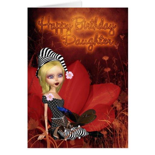 Daughter, Birthday Card With Cute Fantasy Elf