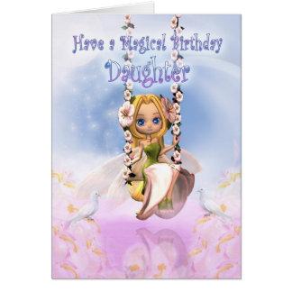 Daughter Birthday card with Cutie Pie fairy on swi