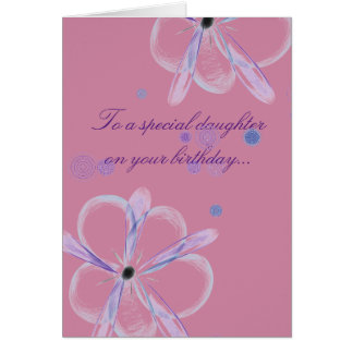 Daughter Birthday Card With Flower Art