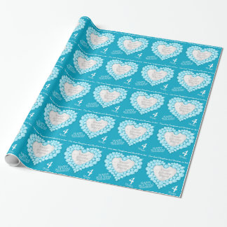 Daughter blue topaz 4th anniversary photo wrap wrapping paper