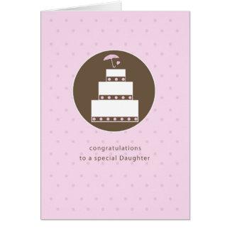 Daughter, Bridal Shower Cake, Brown, Pink Card