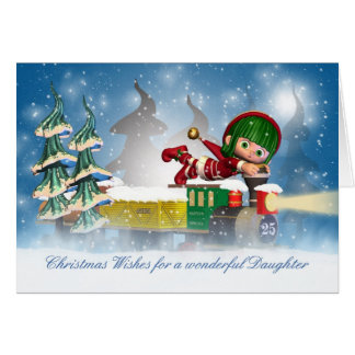 Daughter Christmas card with cute elf on the Chris