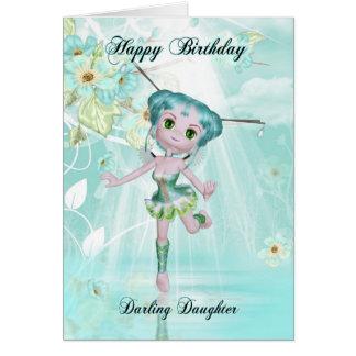 daughter cute fairy birthday greeting card aqua