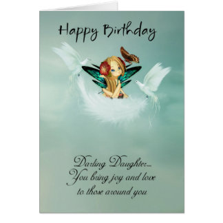Daughter Fairy Birthday Card With Doves