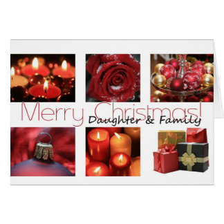 Daughter & Family Christmas red, black & white Card