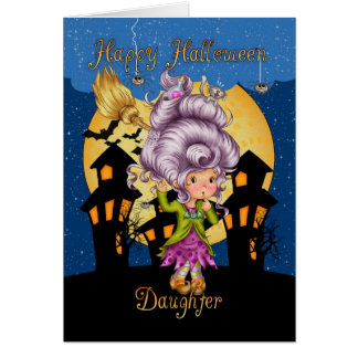 daughter halloween card with cute witch