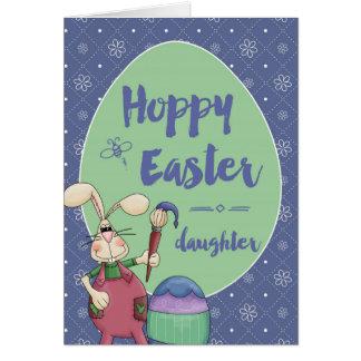 Daughter, Hoppy Easter Bunny Artist painting egg Card