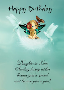 Daughter In Law Fairy Birthday Card With Doves