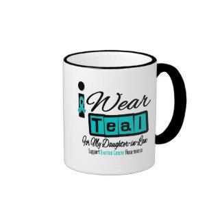Daughter-in-Law - I Wear Teal Retro Ovarian Cancer Ringer Mug