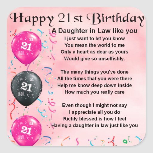 Daughter in Law Poem - 21st Birthday Stickers