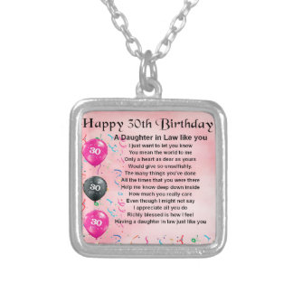 Daughter in Law Poem - 30th Birthday Silver Plated Necklace