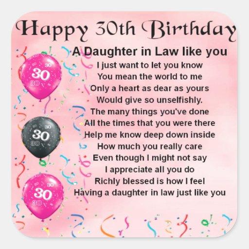 Daughter in Law Poem - 30th Birthday Square Sticker